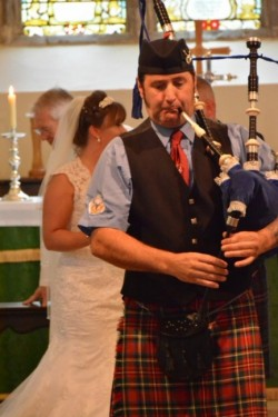 Lee, Piping out the Bride and Groom, October 2016.